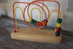 Vintage Wooden Baby Toy Retro Bead Maze Yellow by AudreyBlissful, $8.99