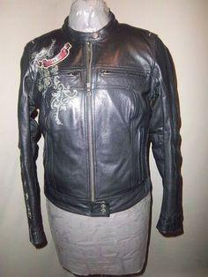 Gorgeous Harley Davidson Black Leather Jacket Roses Hearts