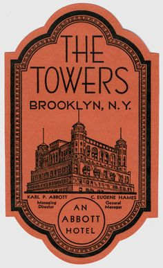 The Towers - Brooklyn, New York (luggage label) by Artist Unknown |  Shop original antique posters online: www.internationalposter.com