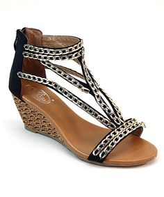 Another great find on #zulily! Black Chain Link Wedge Sandal #zulilyfinds