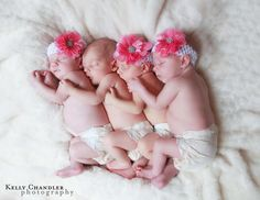 Beautiful picture of TWO sets of TWINS born 35 hours apart after both mom and her surrogate both become pregnant at the same time!  Amazing story!
