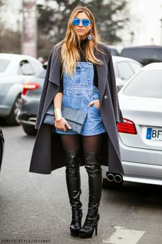Over the knee boots Paris Fashion Week Street style looks