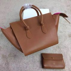 005b58247cc1 Celine Smooth Calfskin Small Tie Tote Bag Dark Coffee