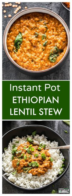 Ethiopian Lentil Stew made easy in the Instant Pot! Flavorful, spicy & comfortin… Ethiopian Lentil Stew made easy in the Instant Pot! Flavorful, spicy & comforting, this stew is also vegan & gluten-free and makes an easy weeknight meal! Instant Pot Pressure Cooker, Pressure Cooker Recipes, Pressure Cooking, Whole Food Recipes, Cooking Recipes, Healthy Recipes, Vegan Recipes Instant Pot, Cooking Pork, Quick Recipes