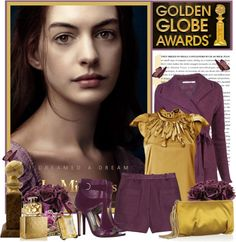 """Golden Globe"" by sneky ❤ liked on Polyvore"