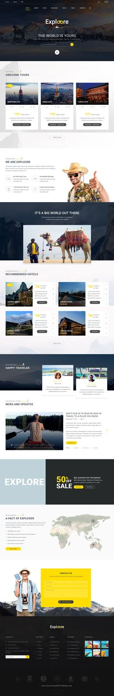 Exploore is a modern & fully responsive #bootstrap template which has been designed for travel #website, #travel agency, travel blog, #tour operators, hotel, etc.