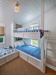 Bunkroom in Portsmouth, R.I. beach bungalow from Ronald F. DiMauro Architects {House of Turquoise}
