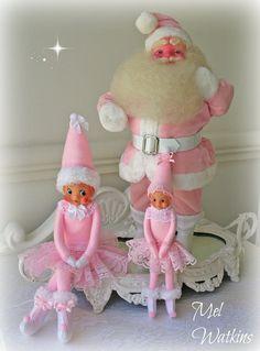 Vintage Rare PINK Harold Gale Santa With 2 Pink Elves Elf Knee Hugger. Elf IdeasPink  ChristmasVintage ...