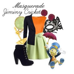 """""""Masquerade: Jiminy Cricket"""" by jivy44 ❤ liked on Polyvore featuring Anne Klein, Accessorize, Bling Jewelry, Chicwish, Bamboo, Versus and BaubleBar"""