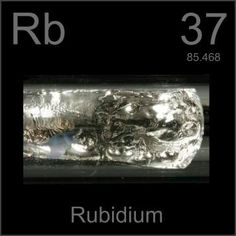 37 Rubidium -Rb- A soft, silvery white alkali metal that is highly reactive, igniting spontaneously in air. It melts on a very hot day.