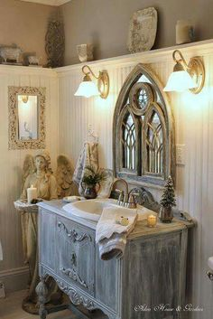 How about taking an big box store bathroom cabinet and putting new legs wood appliques then chalk paint.....