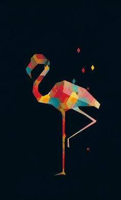 Colours on the Behance Network Low Poly Art, Art Painting, Graphic Design Illustration, Flamingo Art, Design Art, Animal Illustration, Polygon Art, Pop Art, Colours