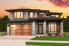 Rosy is a very beautiful hip roof modern house plan with a 3 car tandem garage. The generous master suite shares the rear view, with the Large Family room, Narrow Lot House Plans, Two Story House Plans, Garage House Plans, Two Story Houses, Modern Floor Plans, Contemporary House Plans, Modern House Plans, Rustic Contemporary, Prairie House