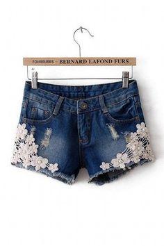 Crochet Lace Flower Vintage Bronze Square Studs Denim Blue Jeans Shorts