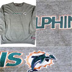 VINTAGE MIAMI DOLPHINS GRAY EMBROIDERED SWEATSHIRT MEN SIZE XL ~EXCELLENT  #LOGOATHLETICSNFL #MiamiDolphins | Miami Dolphins | Pinterest | Miami, ...