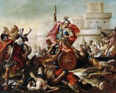 Achilles dragging the body of Hector. 18th.century. Francesco Monti. Italian 1685-1768