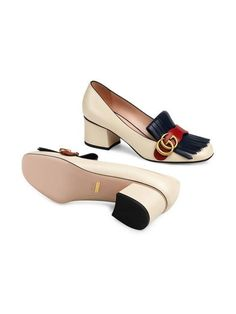 50a8d28c22e7 Gucci Leather mid-heel pump with Double G £535 - Shop Online SS19.