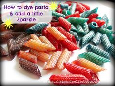 How to make colourful sparkly pasta shapes - ideal for kids crafts