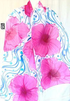 Handpainted Silk Scarf Pink Hawaiian Swell by SilkScarvesTakuyo