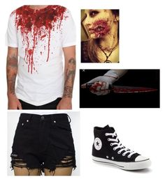 """""""Halloween killer zombie"""" by summercaylen ❤ liked on Polyvore featuring Converse"""