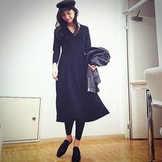 #私服 ワンピース #beautifulpeople ライダース #CLANE ハット #ADAMETROPE 靴 #ELIN レギンス #UNIQLO