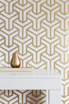 Inspired by Caitlin's time living in the dense city of Hong Kong, this unique geometric print has a sophisticated edge. It's surprisingly neutral with it's appealing pattern and subtle gold palette. Decor, Pattern Wallpaper, Wallpaper, Wallpaper Trends, Geometric Wallpaper, Caitlin Wilson Wallpaper, Interior Wallpaper, Wall Coverings, House And Home Magazine