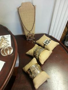 Burlap covered sponges for bracelet display & burlap on necklace display boards