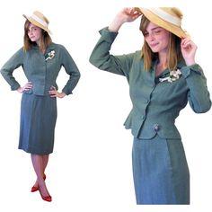 1940s Kirkland Hall Moss Green Skirt Suit S XS