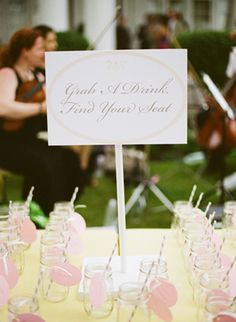 Escort cards with a drink