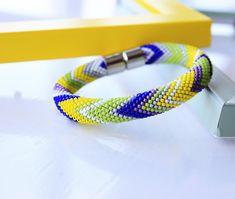 Summer bracelet-Bead crochet bracelet -Seed beads bracelet -Geometric bracelet - Spring bracelet - Gift for her - Statement bracelet