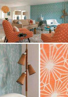 palm springs mid-century modern living room // brian dittmar the aqua wall and pattern on chairs, teak pole lamp : ) ok, love it all! Mid Century Modern Living Room, Mid Century Modern Decor, Mid Century Design, Living Room Designs, Living Room Decor, Living Rooms, Palm Springs Mid Century Modern, Mid-century Interior, Decoration Design