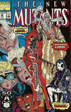 THE NEW MUTANTS # 98 (Vol I) 1991. MARVEL COMICS. WRITER: Rob Liefeld, Fabian Nicieza. ARTIST: Rob Liefeld. COVER PRICE: $1.00. CHARACTERS: Deadpool, Gideon, Domino, Sunspot, Cannonball, Boom Boom, Cable. NOW PRICE: $525.00. CONDITION: Near Mint. (1st app Of Deadpool) (1st app Of Domino (Coptcat) ) (1st App of Gideon) (1st app of Adam, Eve) (Death of Emmanuel de Costa) Sunspots father! Rictor leaves, Domino joins the team.