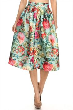 Spring Blossoms Floral Full Midi Skirt