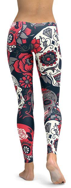 Pink Sugar Skull Leggings - GearBunch Leggings / Yoga Pants