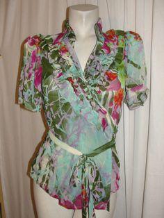 HESSI Short Sleeve Top Purple Green Floral Semi-sheer Ruffle Wrap Blouse Size M…