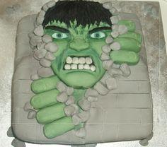 Hulk Breaking Through Rock Wall cake