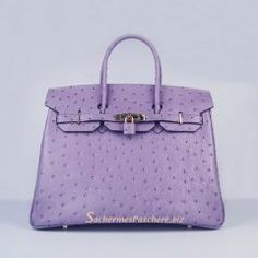 Sacs Hermès Pas Cher Birkin 35cm Ostrich Veins Sac Violet 6089