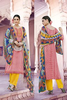 Pink Color Pakistani Style Cotton Salwar Suit