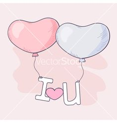 Hand drawn heart balloons holding letters vector valentine's day love by zhemchuzhina on VectorStock®