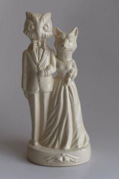 Owl Weds Fox Wedding Cake Topper