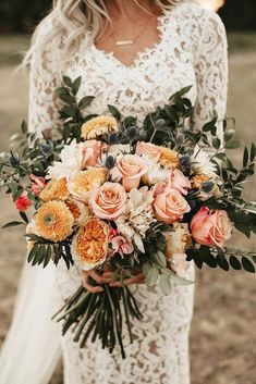 Wedding Bouquet 30 Free-Spirited Bohemian Wedding Ideas ❤️ The stylistics of the boho wedding is easy to create and it is so beautiful. We have collected the best bohemian wedding ideas for your inspiration. Spring Wedding Bouquets, Fall Wedding Bouquets, Wedding Flower Arrangements, Flower Bouquet Wedding, Bridal Bouquets, Rose Bouquet, Wedding Dresses, Wedding Flower Guide, Orange Wedding Flowers