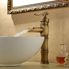 Personalized Bathroom Sink Tap in Antique style Bathroom Sink Tap with Centerset Antique Brass finish