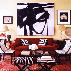 black and white abstract art // Black and white abstract painting over red sofa // living room Decor, Red Sofa, Wall Art, Modern House Design, Cool House Designs, Black And White Abstract, Home Interior Design, Red Living, Red Couch