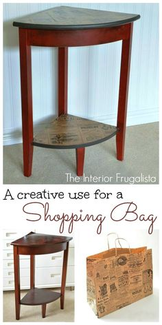 How I took a freebie corner table and a shopping bag and created a cute little…