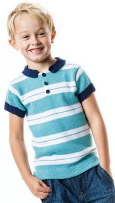 Strikkeopskrift | Strik en stribet poloshirt til drenge | Masser af strikke- og hækleopskrifter på det børnetøj og fint strik til babyer
