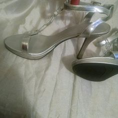 """women's dress shoes Silver with large stones on top, ankle straps. Heel height is about 4.5"""" with 0.5"""" platform, worn maybe 3 times (I wear 10 but got 11 for width) Fioni night Shoes"""