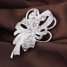 Lustrous Elegant Fashion Wedding Bouquet Rhinestone Silver Plated Brooches for Women Brooch Pins Jewelry