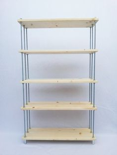 6 shelves made ​​of fir wood, 6 threaded rods 1mt/diam.8mm, 48 zinc plated steel nuts (anti rust), 54 washers, 6 dice limit to 'dome', 6 fee...