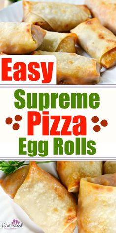 Easy supreme pizza egg rolls are perfect for tailgating during college football season! These egg rolls are packed with your favorite pizza flavors, bacon, hamburger, and loads of cheese! Dig into this pizza favorite today! Pizza Eggrolls, Appetizers For Party, Appetizer Recipes, Appetizer Ideas, Chicken Spring Rolls, Pizza Flavors, Pizza Recipes, Supreme Pizza, Favourite Pizza