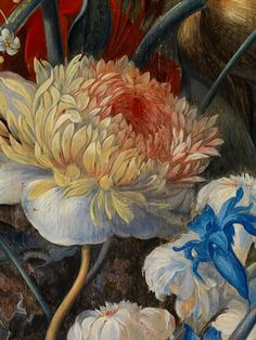 Jan van Huysum,  1682-1749, after FLOWER STILL LIFE WITH BIRD'S NEST, FIGURES AND A PERSON IN THE BACKGROUND